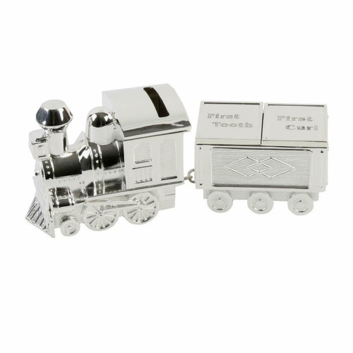 Personalised Silverplated Childrens Money Box -  Train With First Tooth & Curl Carriage