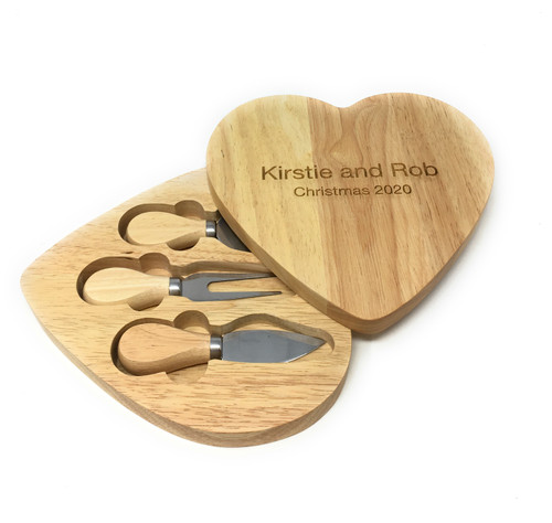 Personalised Heart Shaped Cheese board & Hidden Servers Gift Set - Best Seller