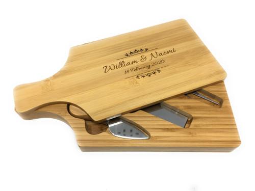 Personalised Rectangular Cheese board & Hidden Servers Gift Set - Best Seller