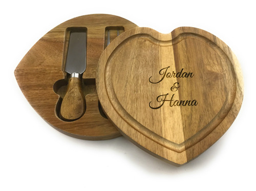 Personalised Small Heart Shaped Cheese board & Hidden Servers Gift Set - Best Seller