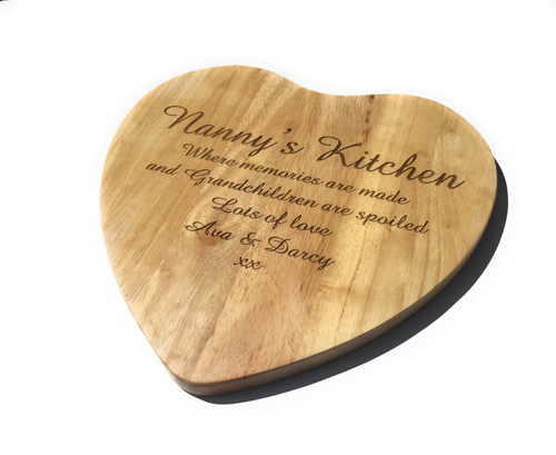 Personalised Heveawood Heart Shaped Chopping  Board