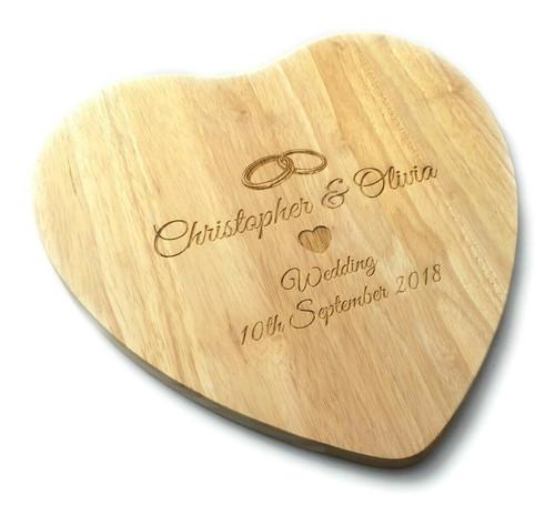 Personalised Heveawood Heart Shaped Chopping  Board - Wedding Design