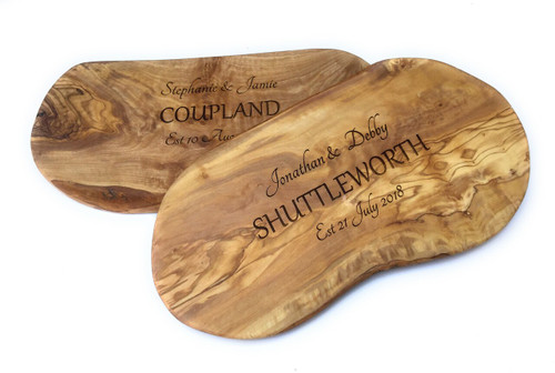 Personalised Olive Wood Large Surname Chopping  Board  - 40cm