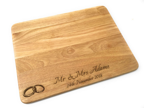 Personalised Heveawood Extra Large Chopping Board - Wedding Rings Design