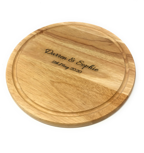 Personalised Heveawood Circular Chopping Board