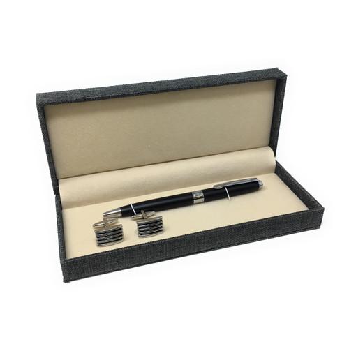 Personalised Autograph Black Ballpoint Pen & Cufflink Gift Set - Ideal Best Man/Usher Gift (Best Seller)