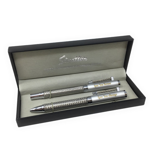Personalised Two Tone Stratton Roller Ball & Fountain Pen  Gift Set (Best Seller)