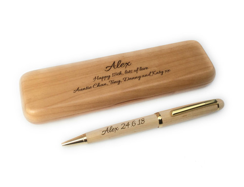 Personalised  Maple Pen & Wooden Pen Box Gift Set (Best Seller)