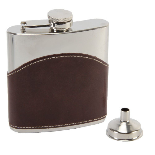 Personalised Brown Leather Stainless Steel Hip Flask - Best Man Usher Gift