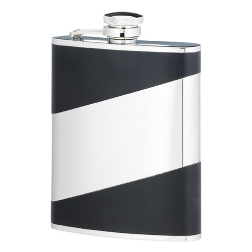 Personalised Diagonal Stainless Steel & Black Leather Hip Flask