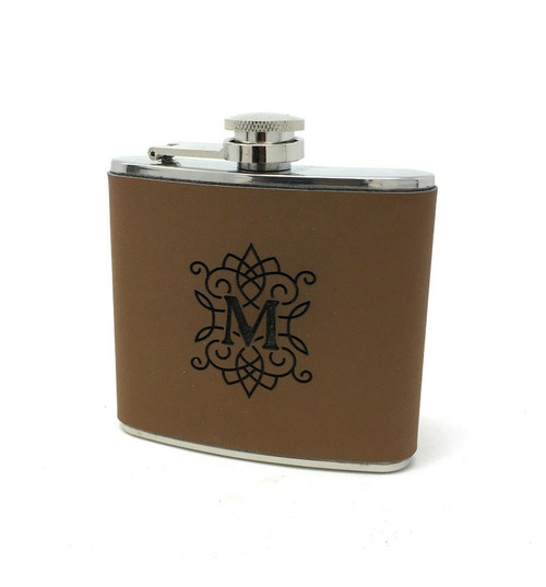 Personalised Initial Engraved Leather Hip/Pocket Flask