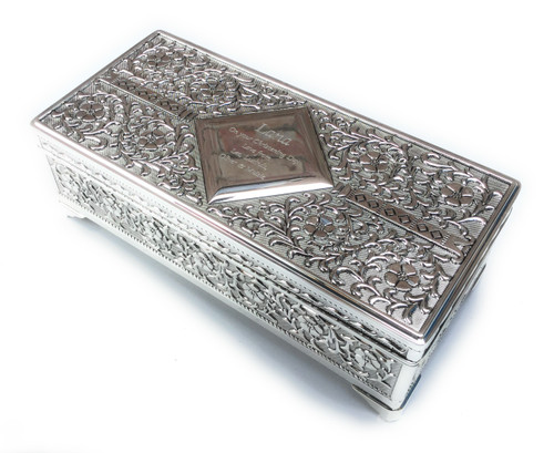 Personalised Silver Plated Antique Finish Trinket Box (Best Seller)