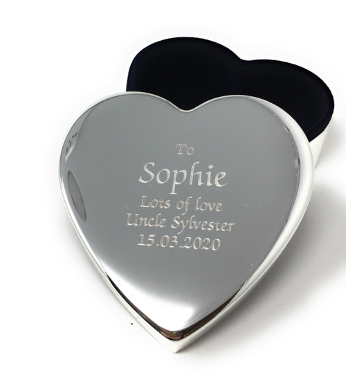 Personalised Heart Shaped Silver Plated Trinket Box