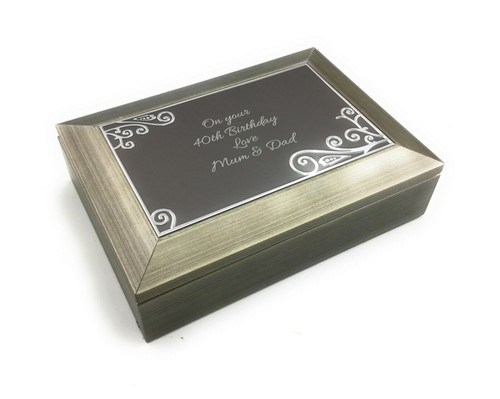 Personalised Brushed Metallic Pewter Finish Jewellery Box