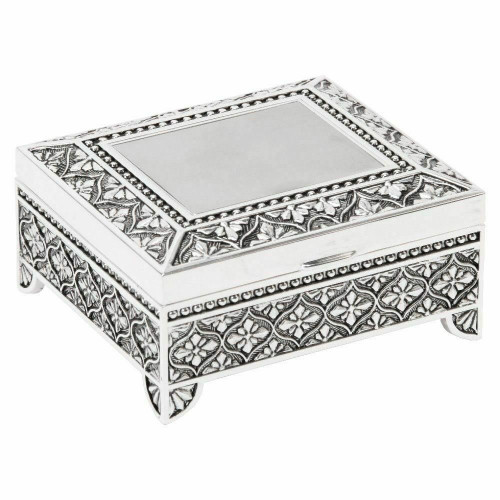 Personalised Small Silverplated Art Deco Floral Trinket Box