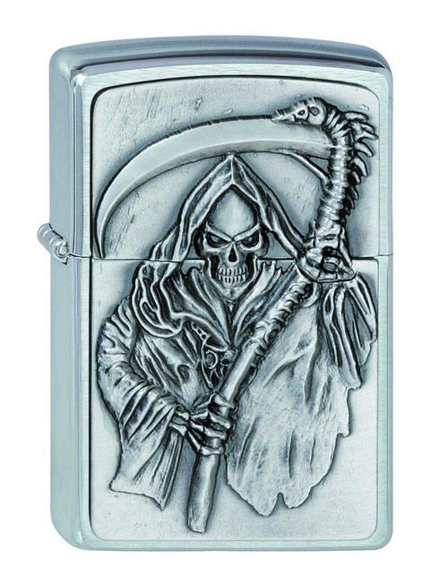 Personalised Reaper Emblem Brushed Chrome Genuine Zippo Lighter