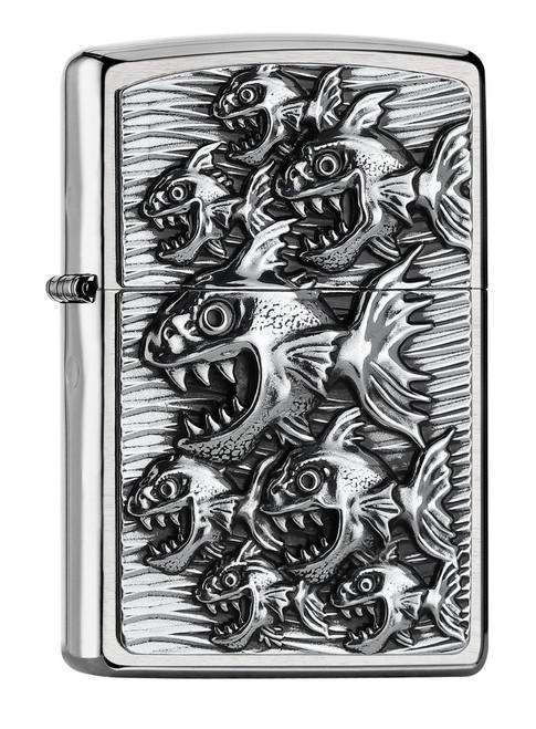 Personalised Piranha Emblem Brushed Chrome Genuine Zippo Lighter
