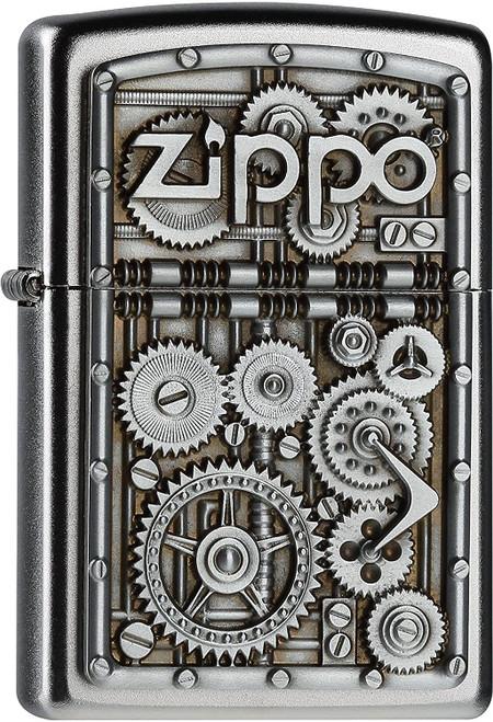 Personalised Gear Wheels Satin Chrome Genuine Zippo Lighter