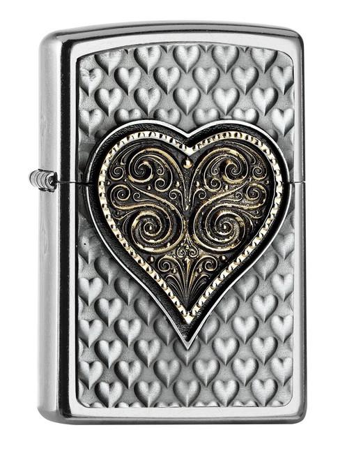 Personalised Heart Street Chrome Genuine Zippo Lighter