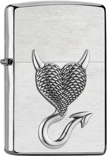 Personalised Devil Heart Brushed Chrome Genuine Zippo Lighter