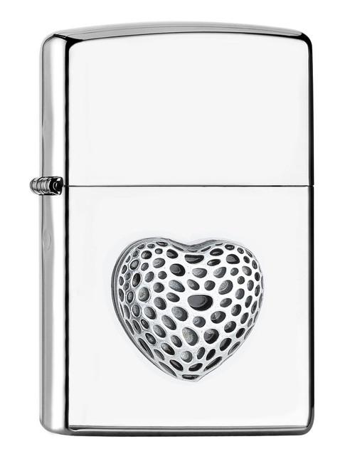 Personalised Mini Heart Polished Chrome Genuine Zippo Lighter