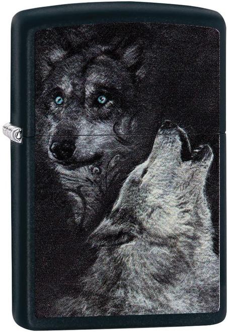 Personalised Wolf Black Matte Zippo Lighter