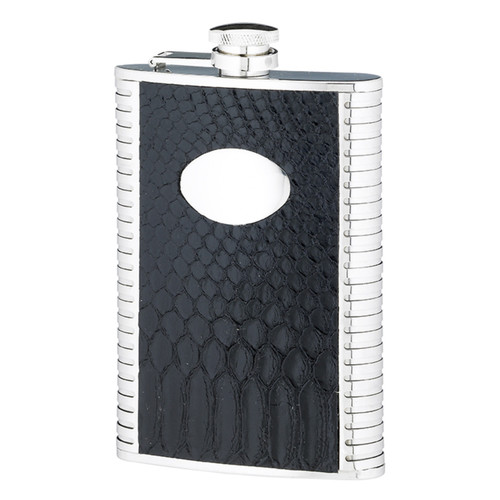 Personalised 8oz Stainless Steel & Black Leather Hip Flask