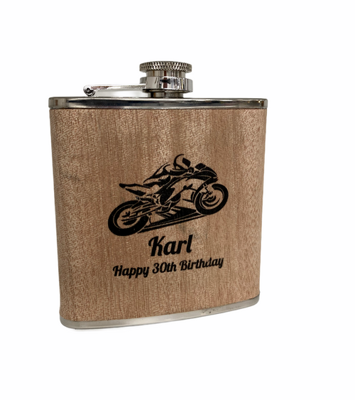Personalised Wood Wrap 6oz Hip Flask - Motorbike Design
