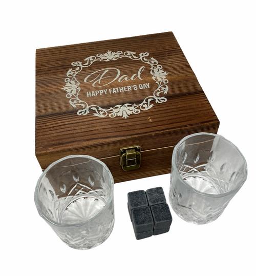 Personalised Whisky Stones & 2 Tumbler Glasses Gift Set (Best Seller)