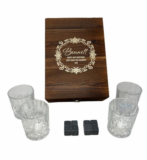 Personalised Whisky Stones & 4 Tumbler Glasses Gift Set