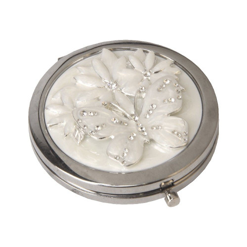Personalised Floral Butterfly Compact Mirror
