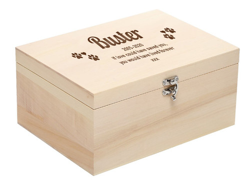 Personalised Luxury Pale Wood Pet Memorial Ashes Casket - Large (Larger Size)