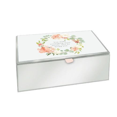 Personalised Peaches & Cream Glass Medium Trinket & Jewellery Box