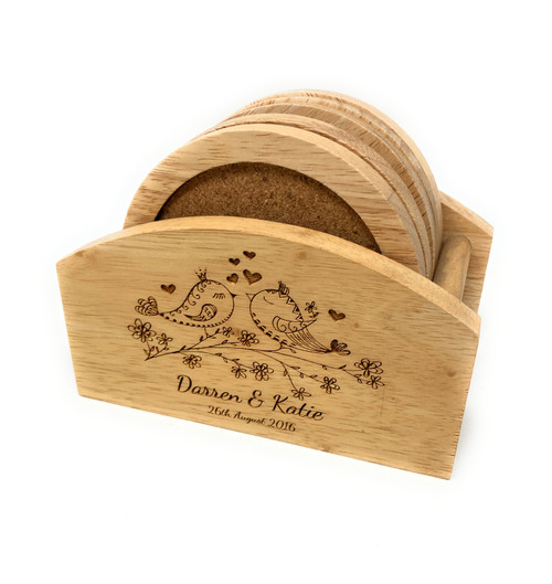 Personalised Set Of Wooden Drink Coasters - Teariffic Gift Idea!