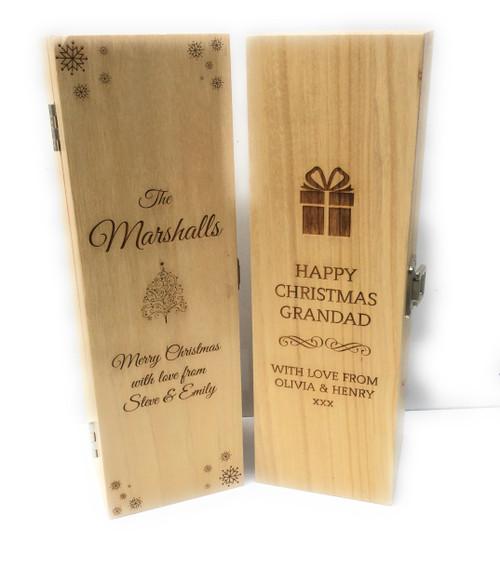Personalised Single Wine Box (Bestseller) - Christmas Design