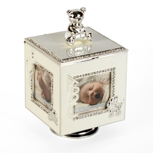 Personalised Baby Silver Plated Rotating Photo Frame & Musical Box