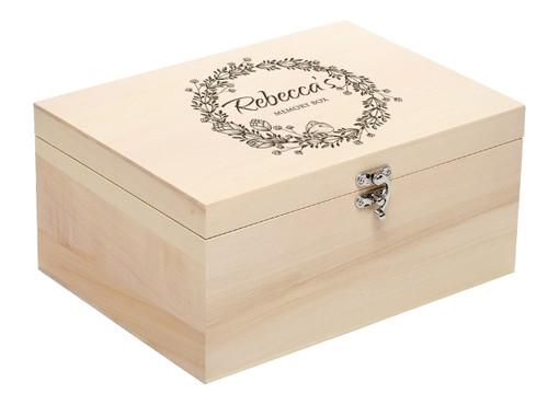 Personalised Luxury Solid Wooden Keepsake Memory Box - Large