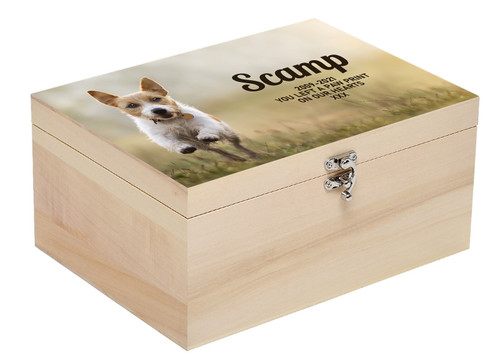 Personalised Luxury Wood Pet Ashes Casket Memory Box With Full Printed Photograph - Small