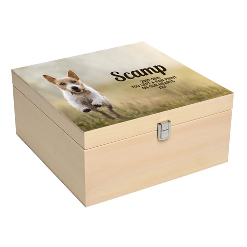 Personalised Luxury Square Wood Pet Ashes Casket Memory Box With Full Printed Photograph