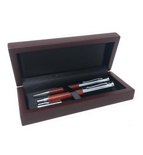 Personalised Autograph Rosewood Roller Ball Pen & Ballpoint Pen Gift Set (Best Seller)