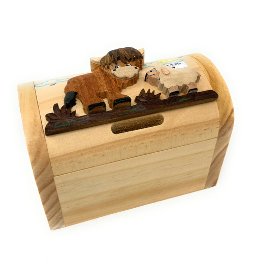 Personalised Childrens Wooden Money Box -Highland Cow Design