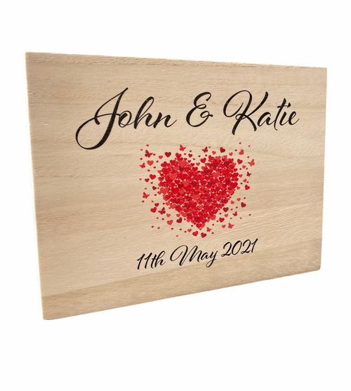 Personalised Love Heart Wedding Anniversary Keepsake Plaque