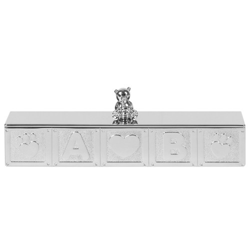 Personalised Silver Plated Teddy Bear Design Birth Certificate Holder