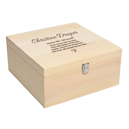 Personalised Luxury Pale Wood Square Ashes Casket