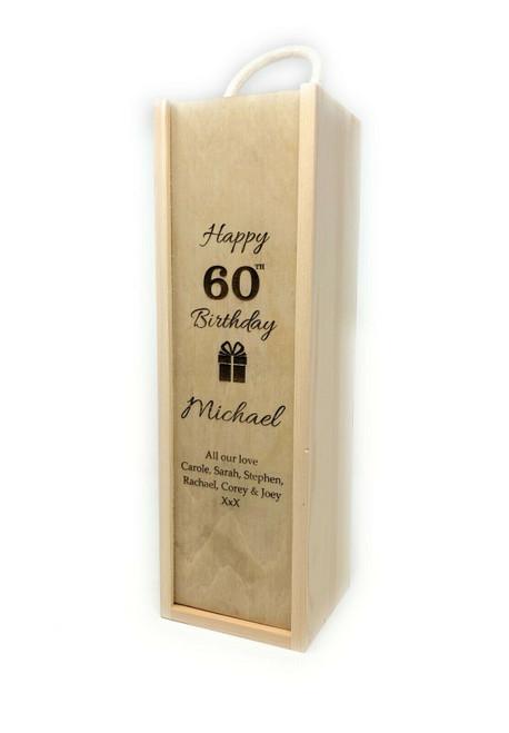 Personalised Single Wine Box  With Rope Handle (Bestseller) - Birthday Design