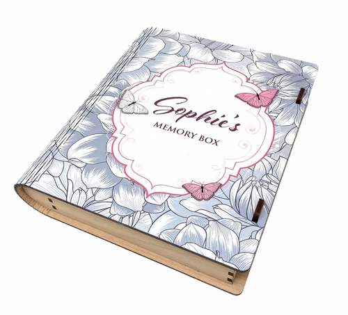 Personalised Printed Handmade Butterfly Design Memory Wooden Box Book