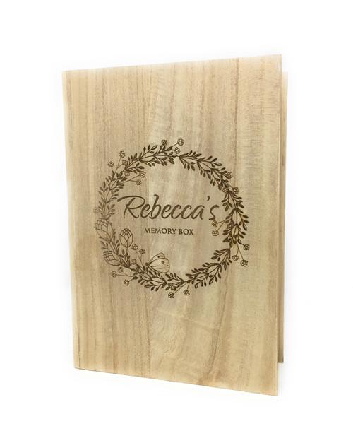 Personalised Keepsake Paulownia Memory Wooden Box Book