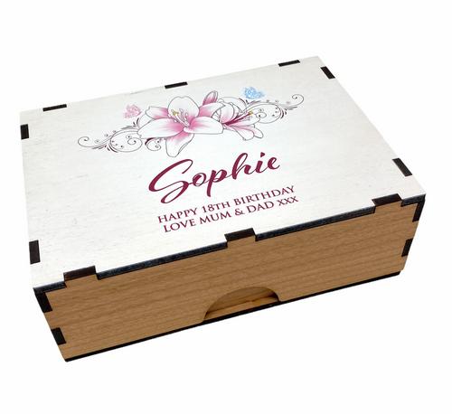 Personalised Printed Handmade Birthday Milestone Floral Jewellery/Trinket Box