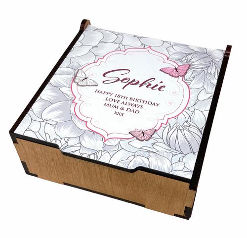 Personalised Small Printed Handmade Birthday Milestone Butterfly Jewellery/Trinket Box