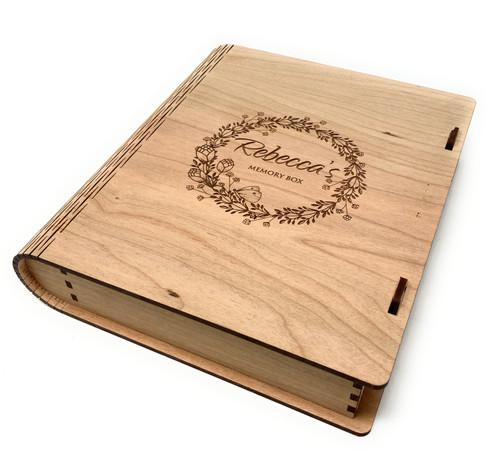 Personalised Handmade Keepsake Lockable Memory Wooden Box Book